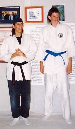 Sensei Cynthia Frueh and beginner Katie Murphy Stevens, 1991